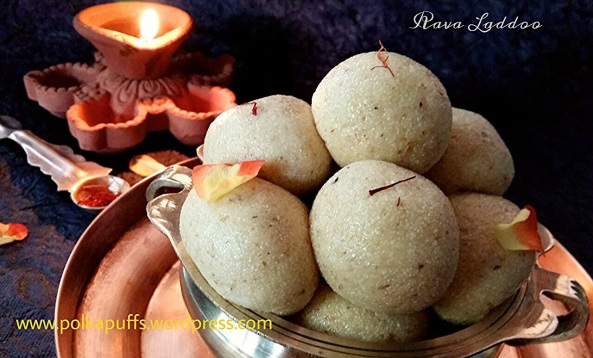How to make Rava Laddoo with condensed milk Rava Laddoo recipe Coconut Laddoo recipe Indian festive recipes Diwali recipe for sweets Polkapuffs