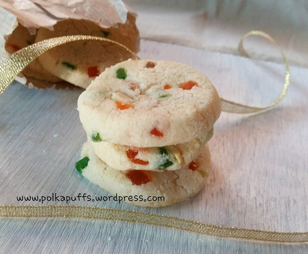Eggless fruit cookies recipe Tutti frutti biscuit recipe Karachi bakery biscuit recipe Polkapuffs Easy Christmas cookies