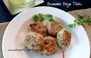 Sesame soya tikki recipe Polkapuffs recipes Indian starters Snacks Easy snacks Vegetarian starters Soya Aloo tikki