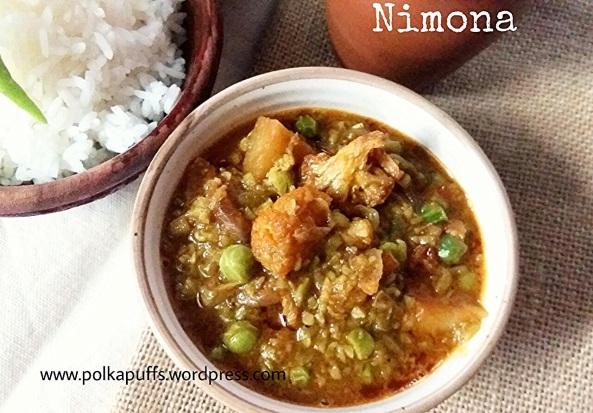 Nimona recipe U.P. Style Nimona Green pea curry North Indian Nimona Polkapuffs Easy Indian food