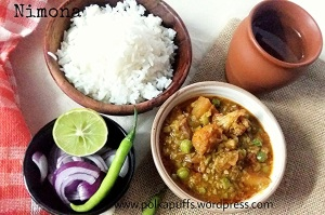 Nimona recipe U.P. Style Nimona Green pea curry North Indian Nimona Polkapuffs Easy Indian food