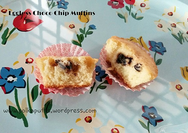 Eggless Choco Chip muffin recipe Eggless cupcakes recipe Polkapuffs recipe Breakfast ideas