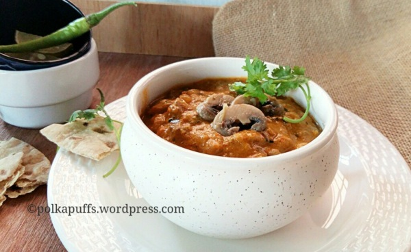 Mushroom butter masala Polkapuffs recipe How to make restaurant style mushroom butter masala