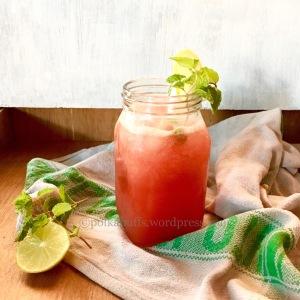 Watermelon mocktail Green tea refresher Fruity Green Tea Cooler Polkapuffs recipes Summer drinks Kids recipes