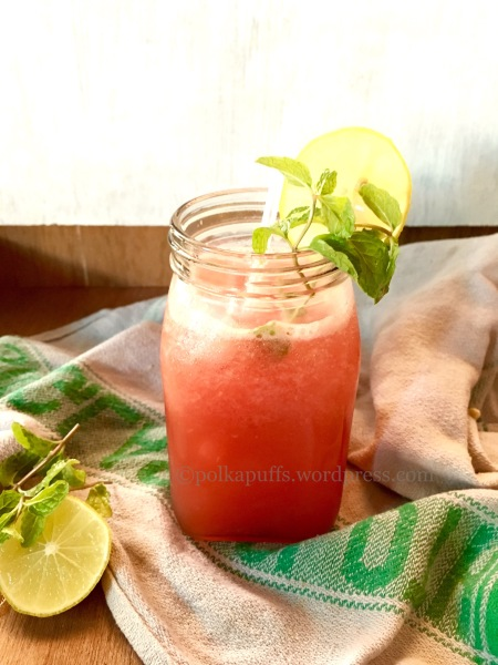 Watermelon mocktail Green tea refresher Fruity Green Tea Cooler Polkapuffs recipes Summer drinks Kids recipes
