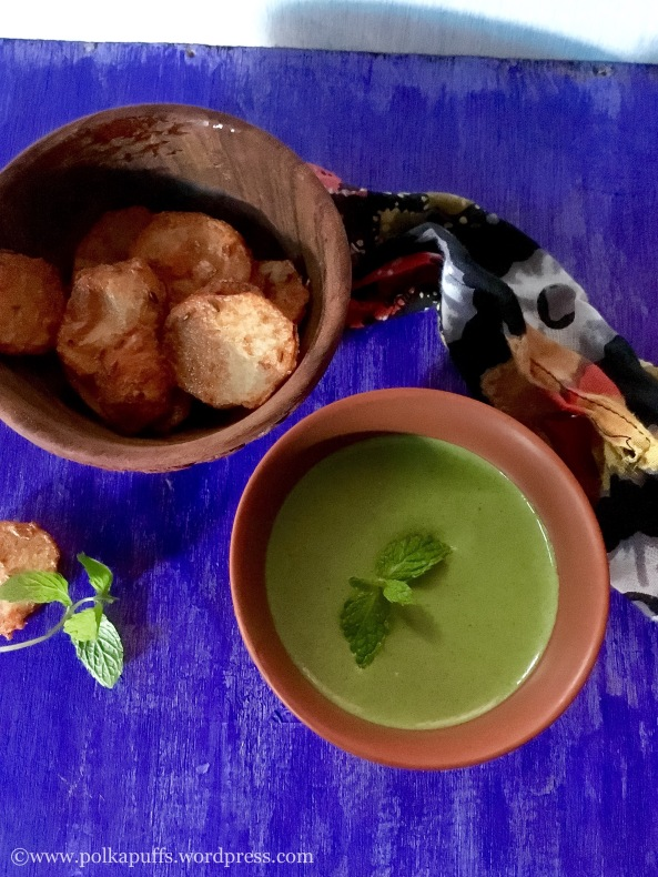 Chutney for tandoori snacks Restaurant style dip for Indian tandoori snacks PolkaPuffs recipe