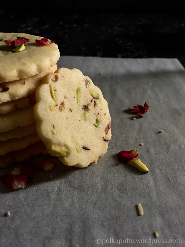 Rose and Pistachio cookies Polkapuffs recipes Christmas baking Christmas cookies Rose and Pistachio shortbread cookie recipe Eggless shortbread cookie recipe