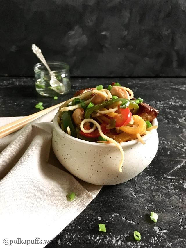Veg Kung pao noodles with paneer  Polkapuffs recipes  Shreya tiwari recipes How to make Kung pao noodles at home