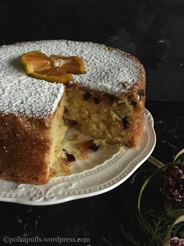 Spiced Orange and Cranberry Cake How to make an orange cake Polkapuffs recipes Christmas baking