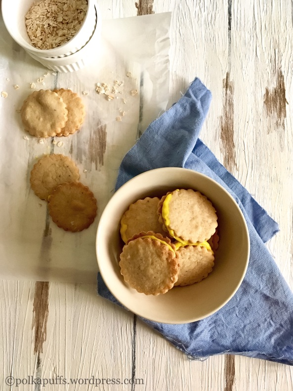 Wholewheat and Oat Sandwich Cookies  How to make healthy oat cookies  Easy recipe for oat cookies  Polkapuffs recipes Eggless oats cookies