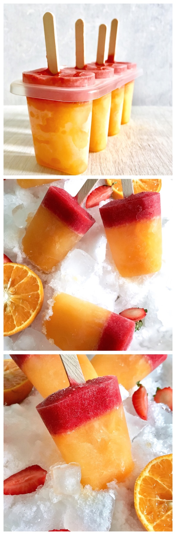 Volcano Popsicles Vegan & Glutenfree | Strawberry & Orange Popsicles