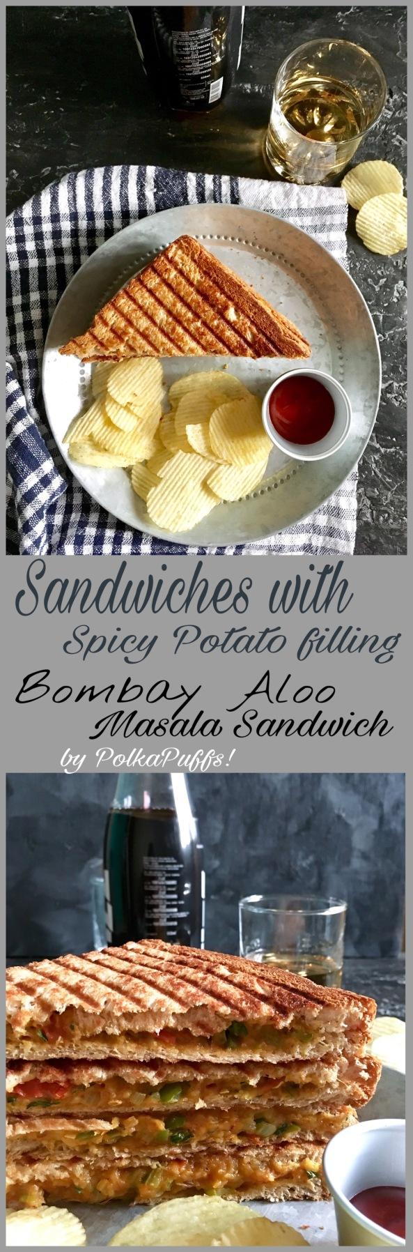 Sandwiches with Spicy Potato fillng   Bombay Masala Aloo Sandwich   PolkaPuffs