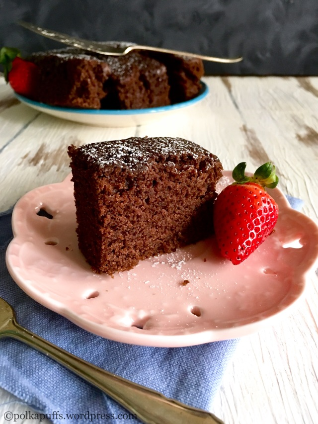 Pressure cooker cake recipe PolkaPuffs recipe Chocolate sponge cake in pressure cooker Eggless chocolate cake in pressure cooker Vegan chocolate cake recipe Bake a cake in the pressure cooker