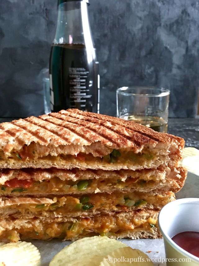 Bombay Masala Aloo sandwich recipe Bombay toast sandwich recipe Lunchbox ideas Street food of mumbai Polkapuffs recipes Shreya Tiwari photography
