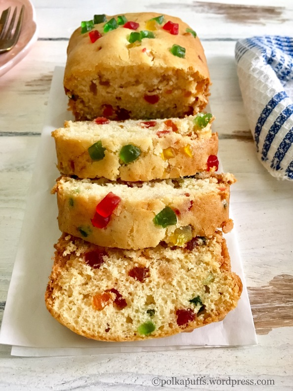 Eggless Tutti Frutti Cake recipe Polkapuffs recipes Shreya Tiwari photography How to make an eggless tea time tutti Frutti cake Easy recipe for yogurt cake